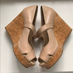 Antonio Melani Nude Leather Cork Wedges
